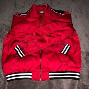 Red Collared Puffy Bomber Jacket